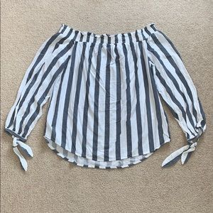White and blue striped off the shoulder top S